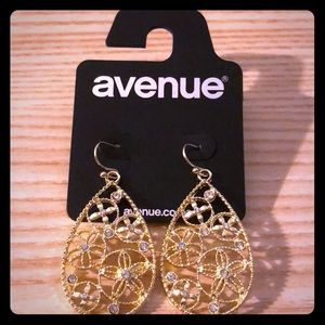 Pair of gold tone dangle earrings from Avenue